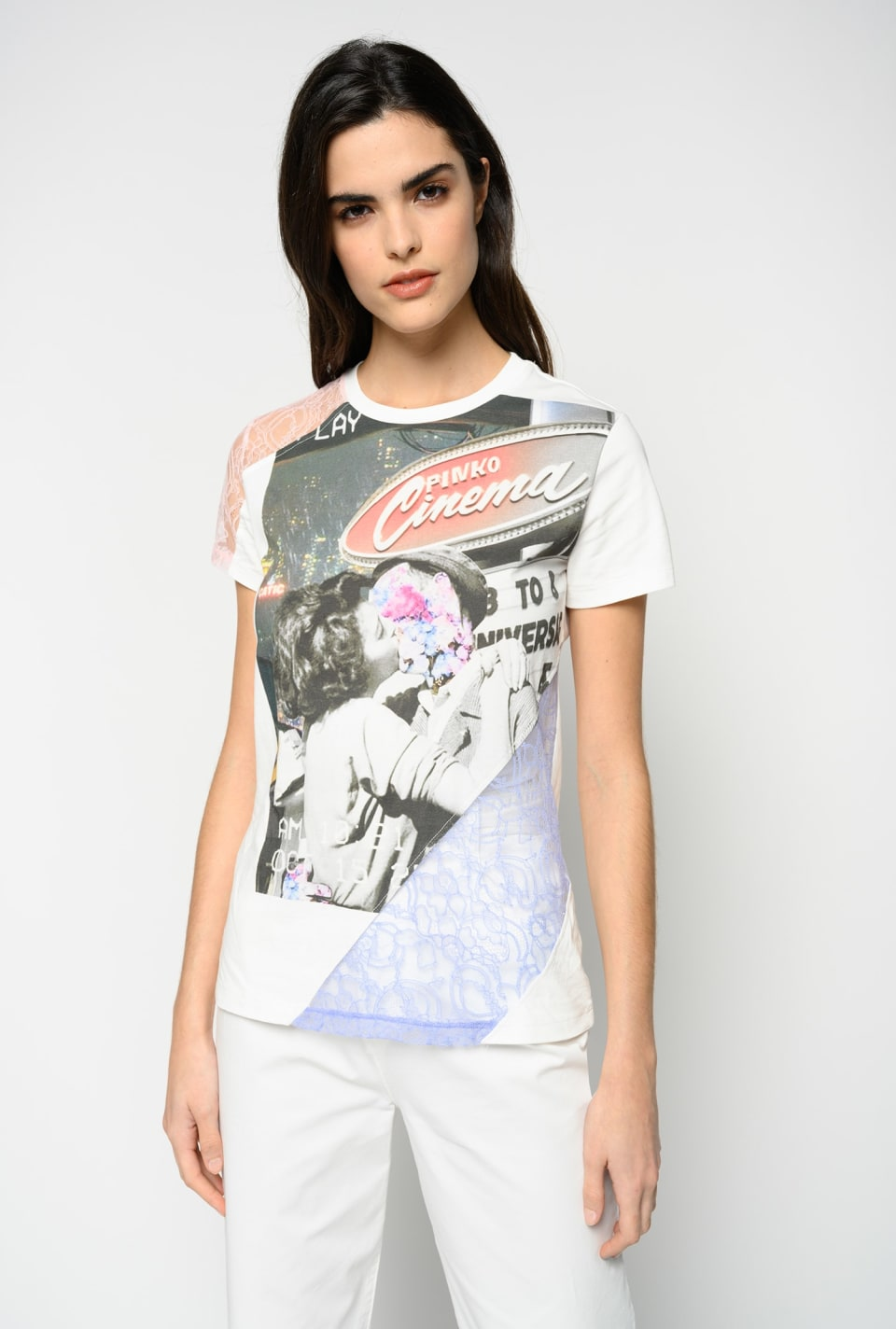 Printed T-shirt with lace inserts - Pinko