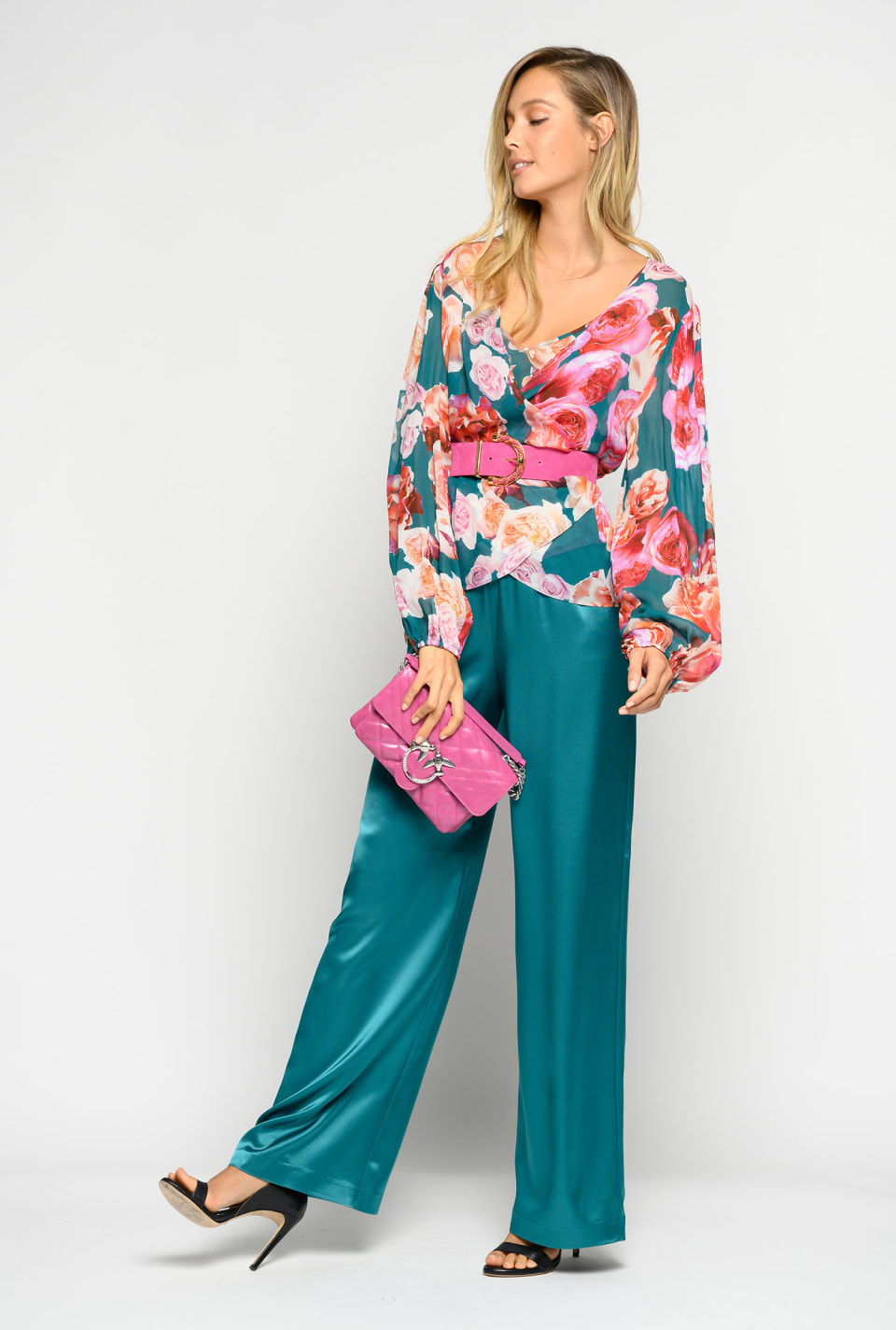 Supple satin trousers