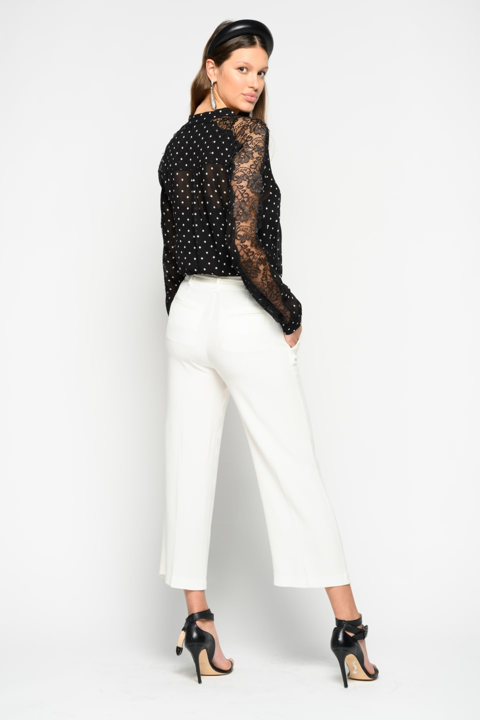Pantalon cropped en envers satin
