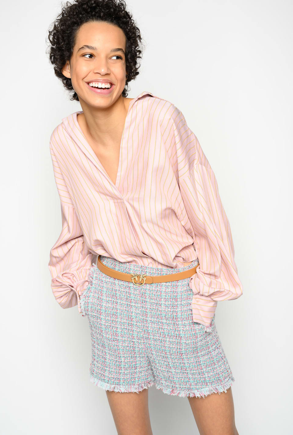 Striped twill blouse