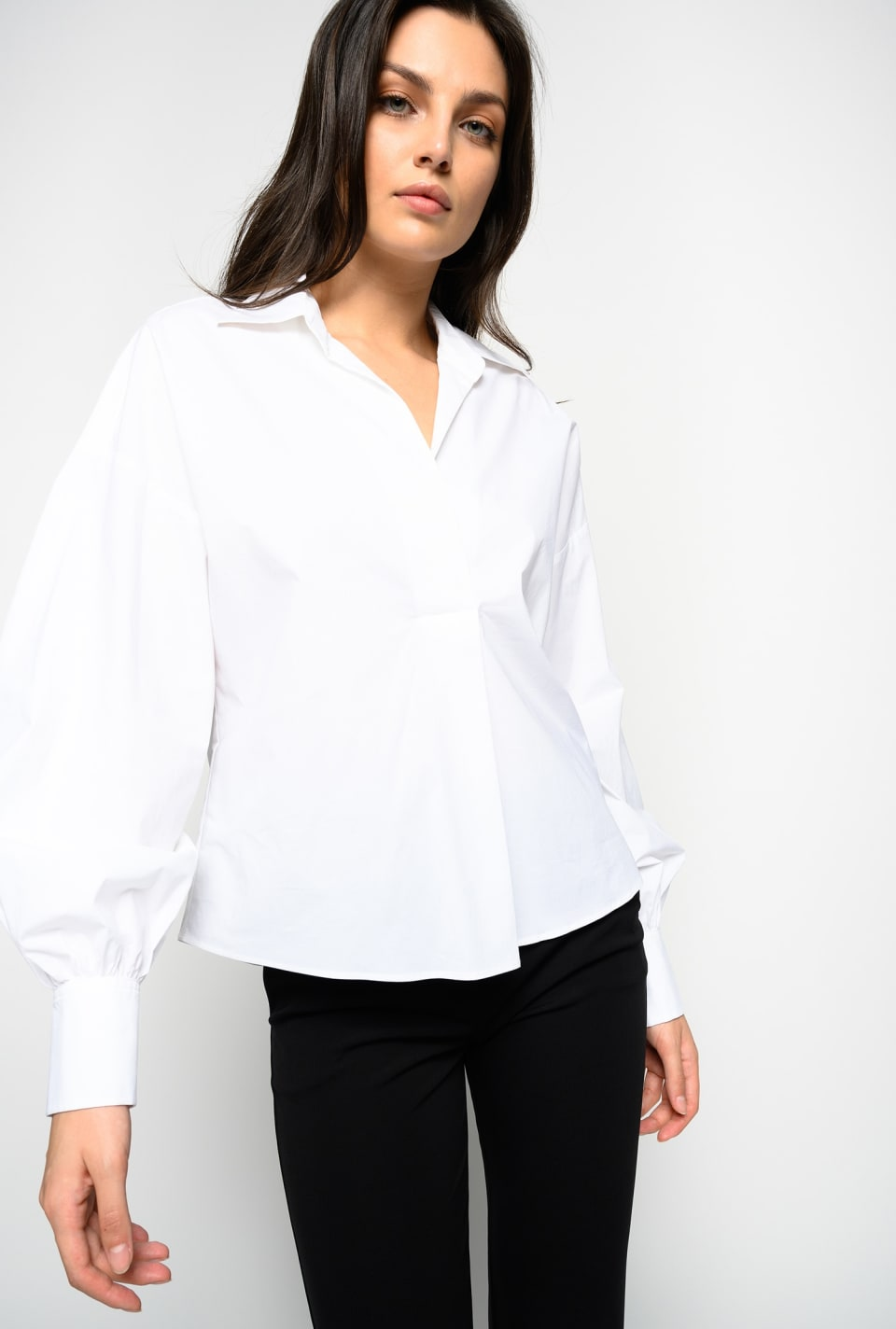 Blusa in popeline stretch