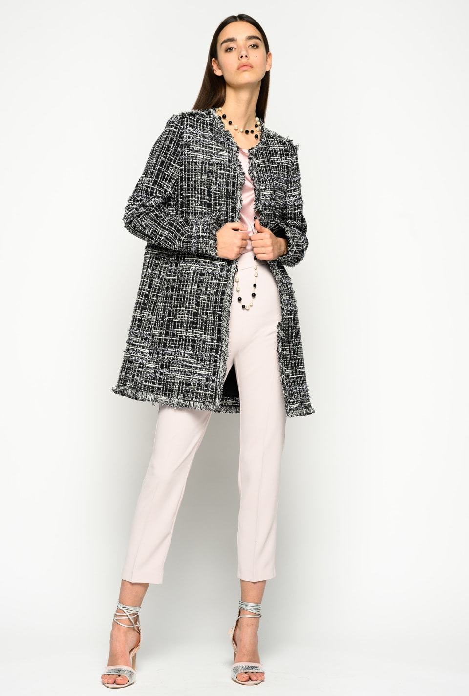 Lightweight patterned tweed coat - Pinko