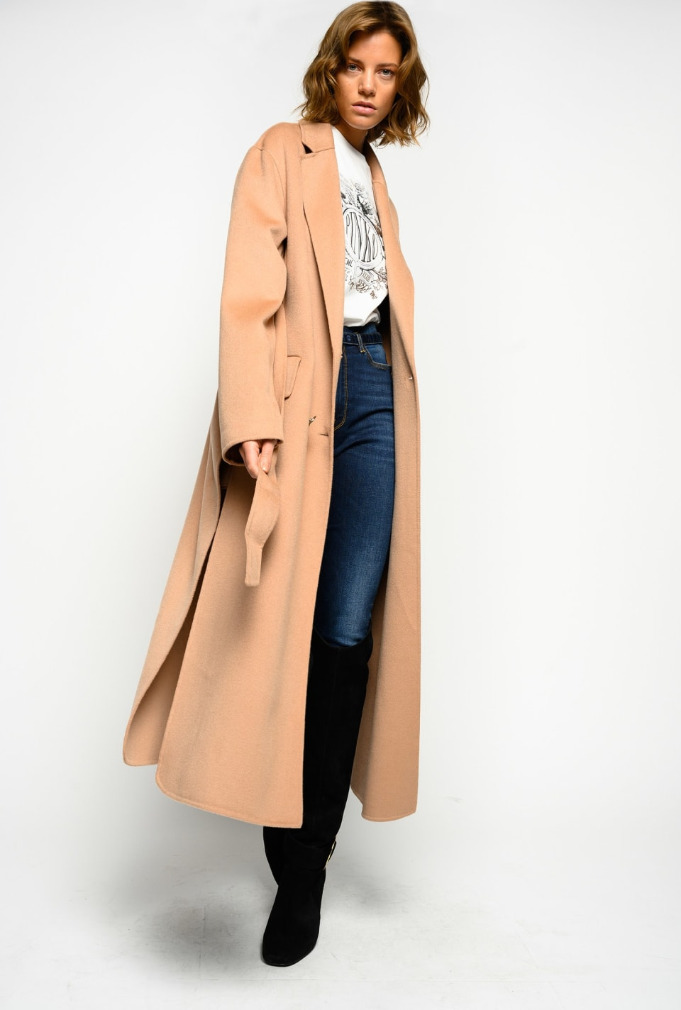 Manteau long en drap double