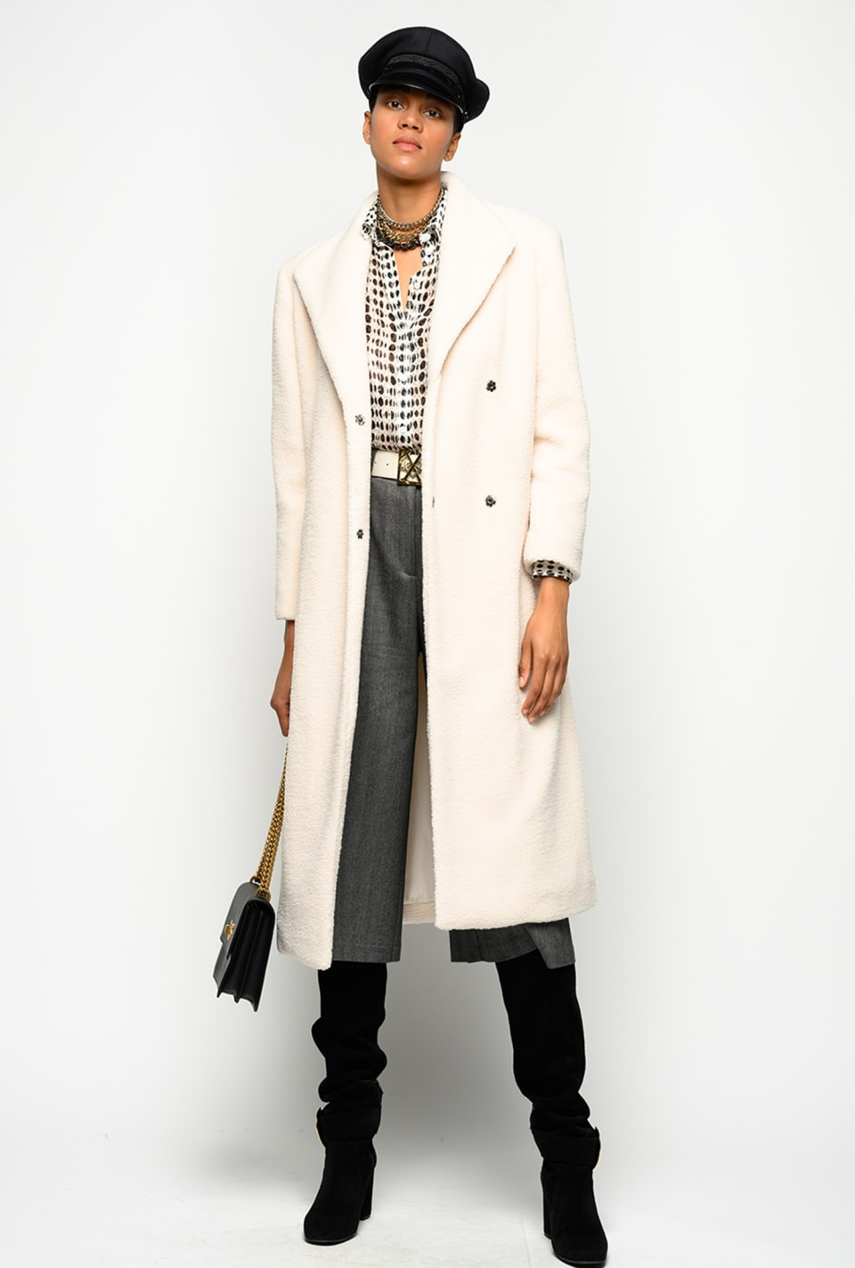 Long coat in teddy faux fur - Pinko