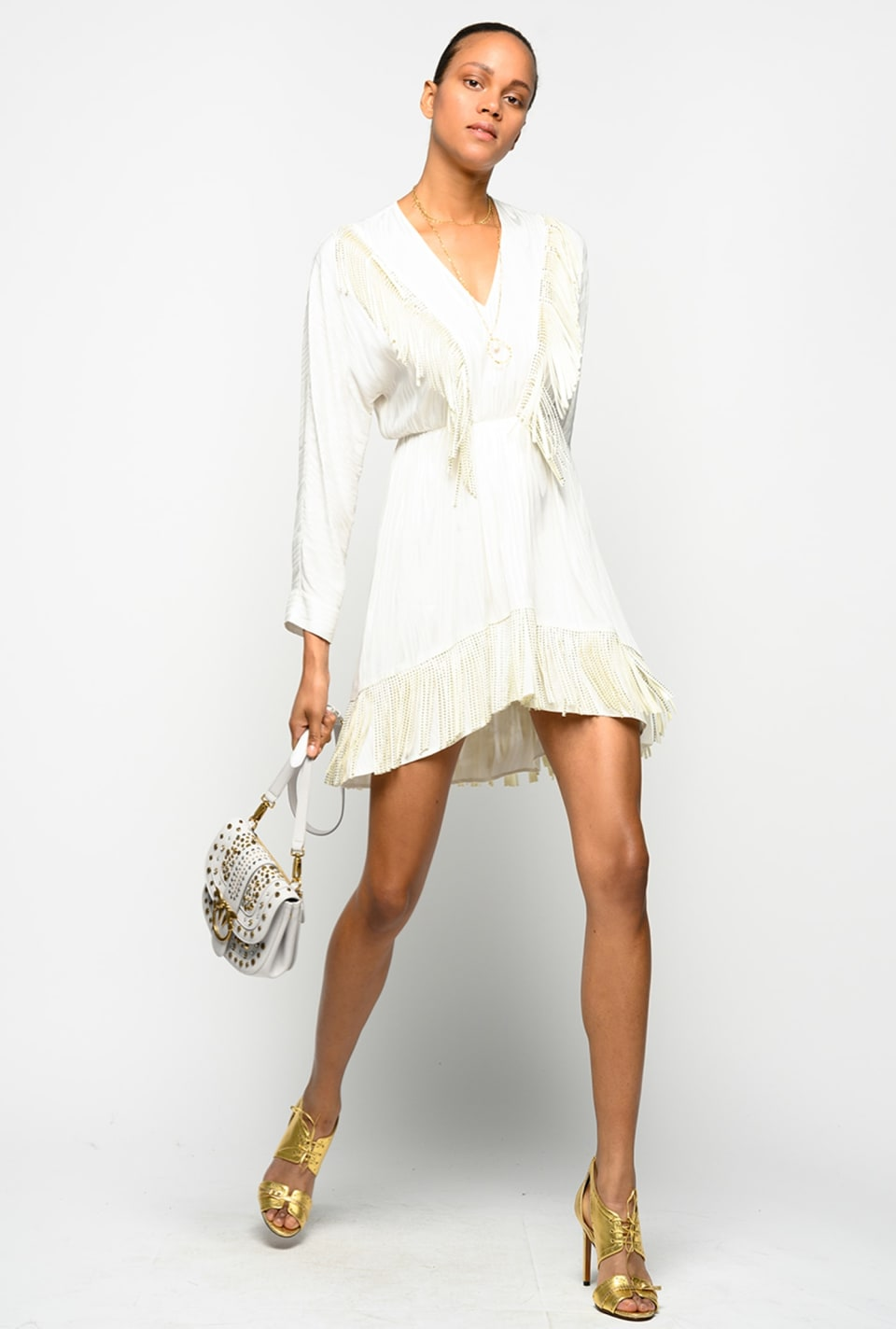 Short dress with rhinestone fringe - Pinko