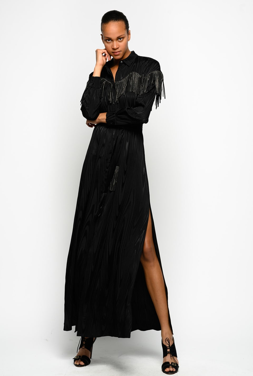 Long shirtwaister dress with rhinestone fringe