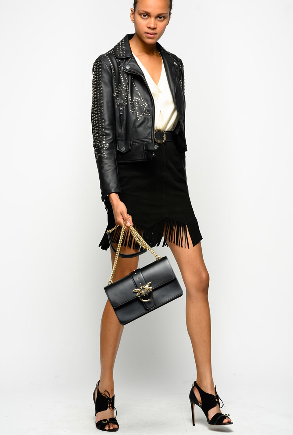 Suede mini skirt with fringes