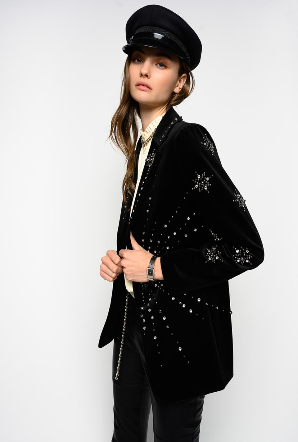 Embroidered velvet blazer - Pinko
