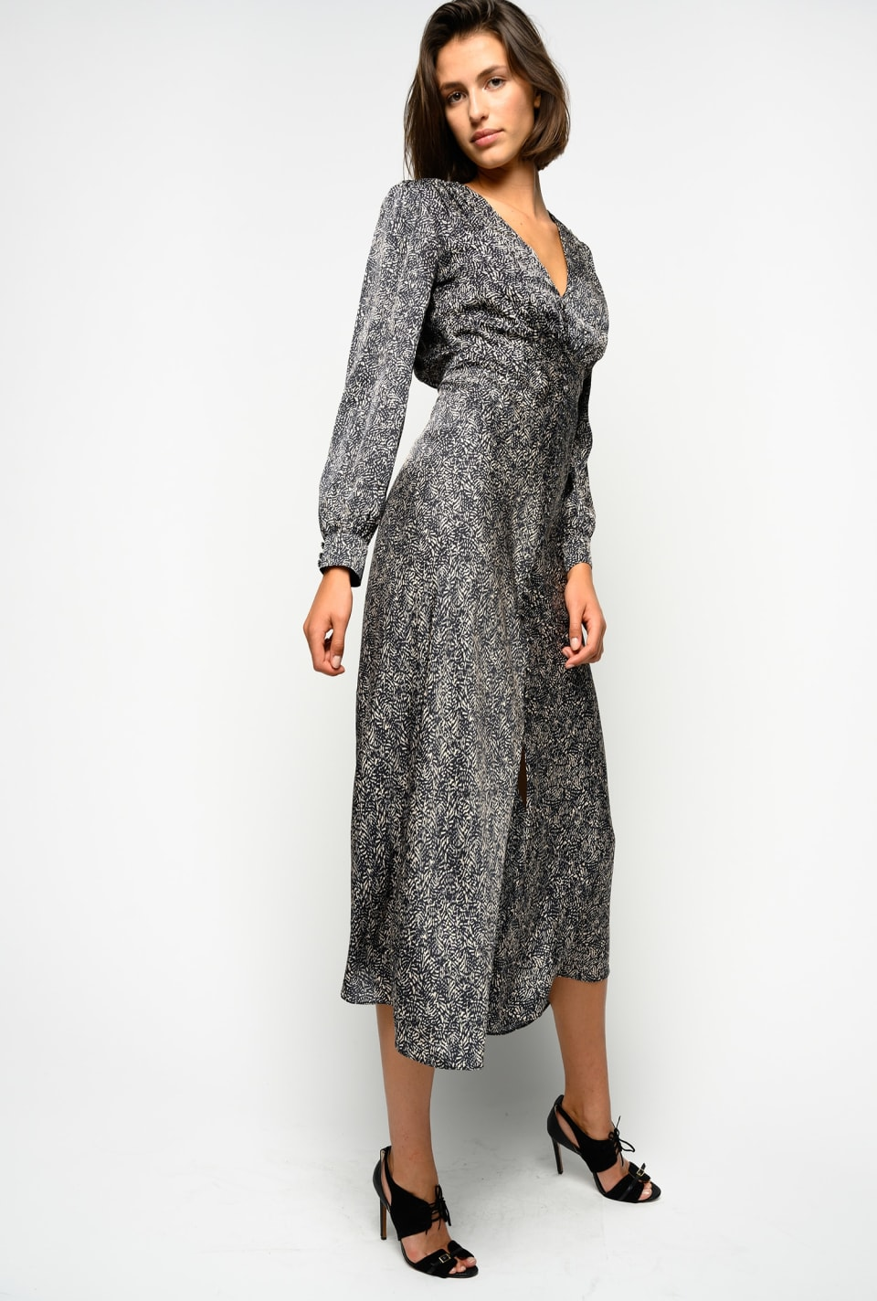 Long printed satin dress - Pinko