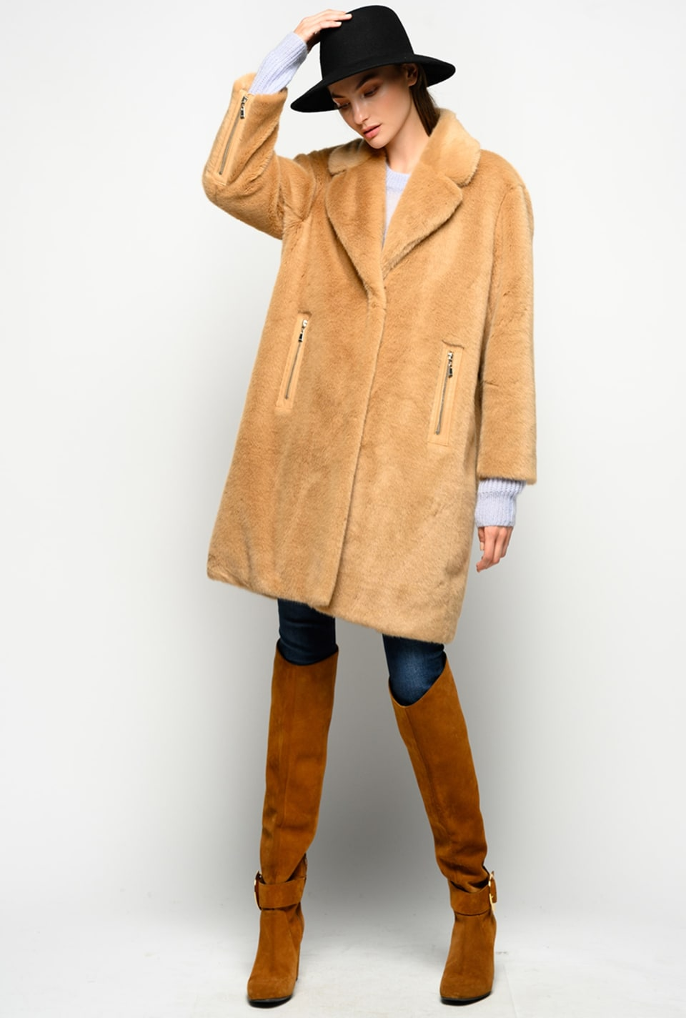 Faux-mink coat
