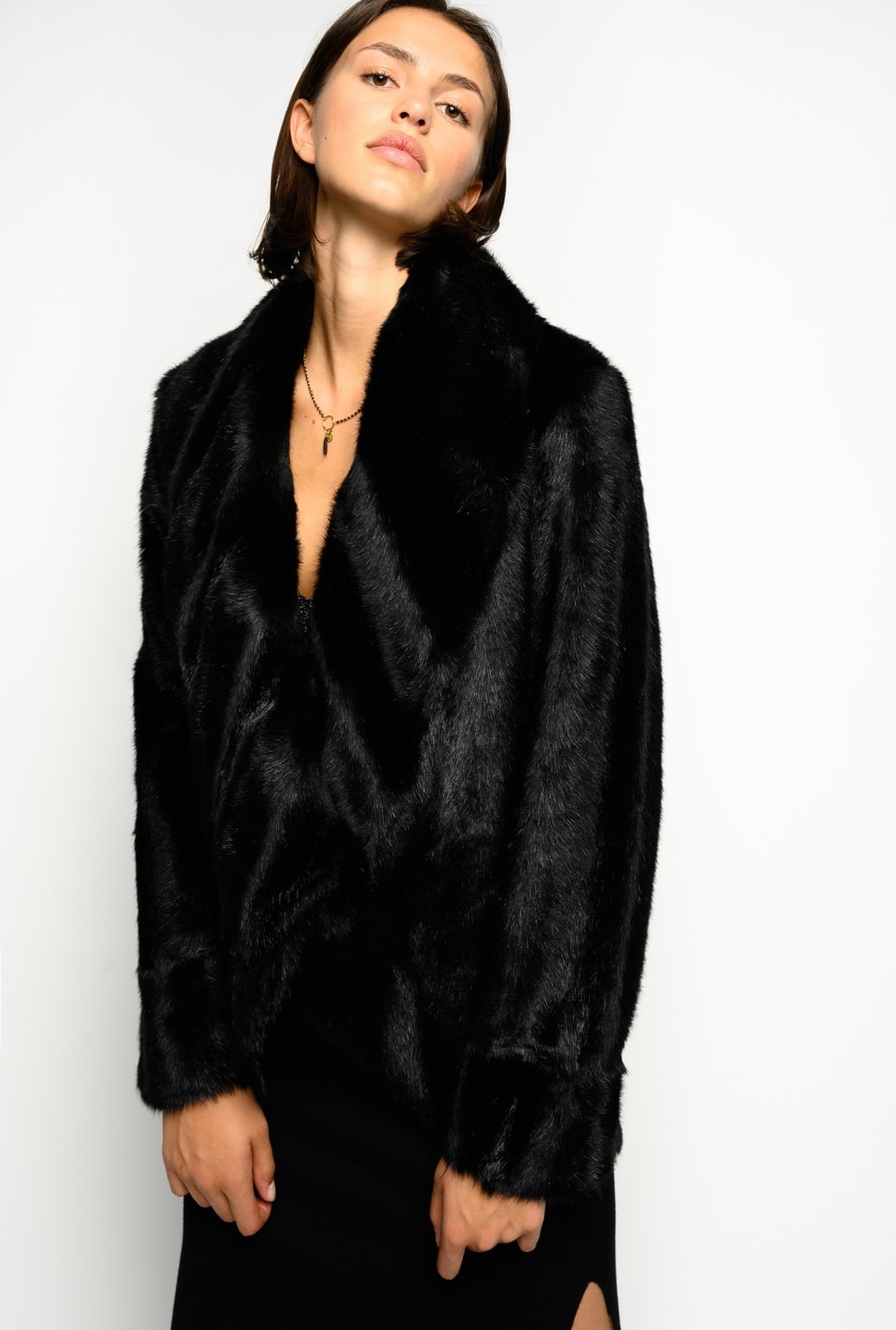 Reversible faux-mink pea coat