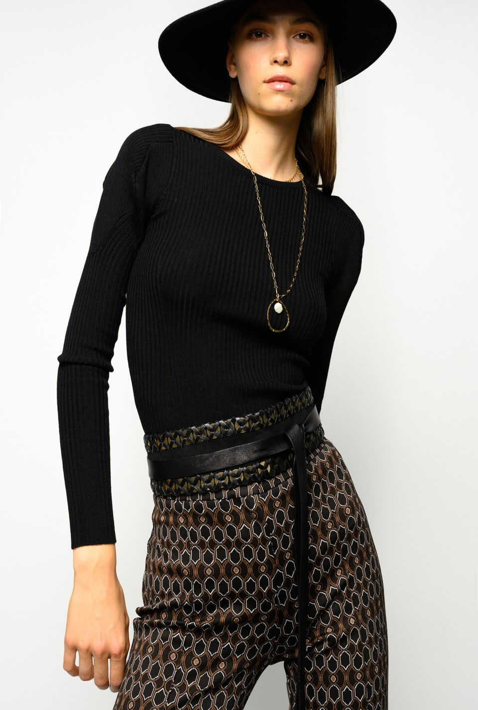 Rib-knit top with asymmetrical shoulders - Pinko