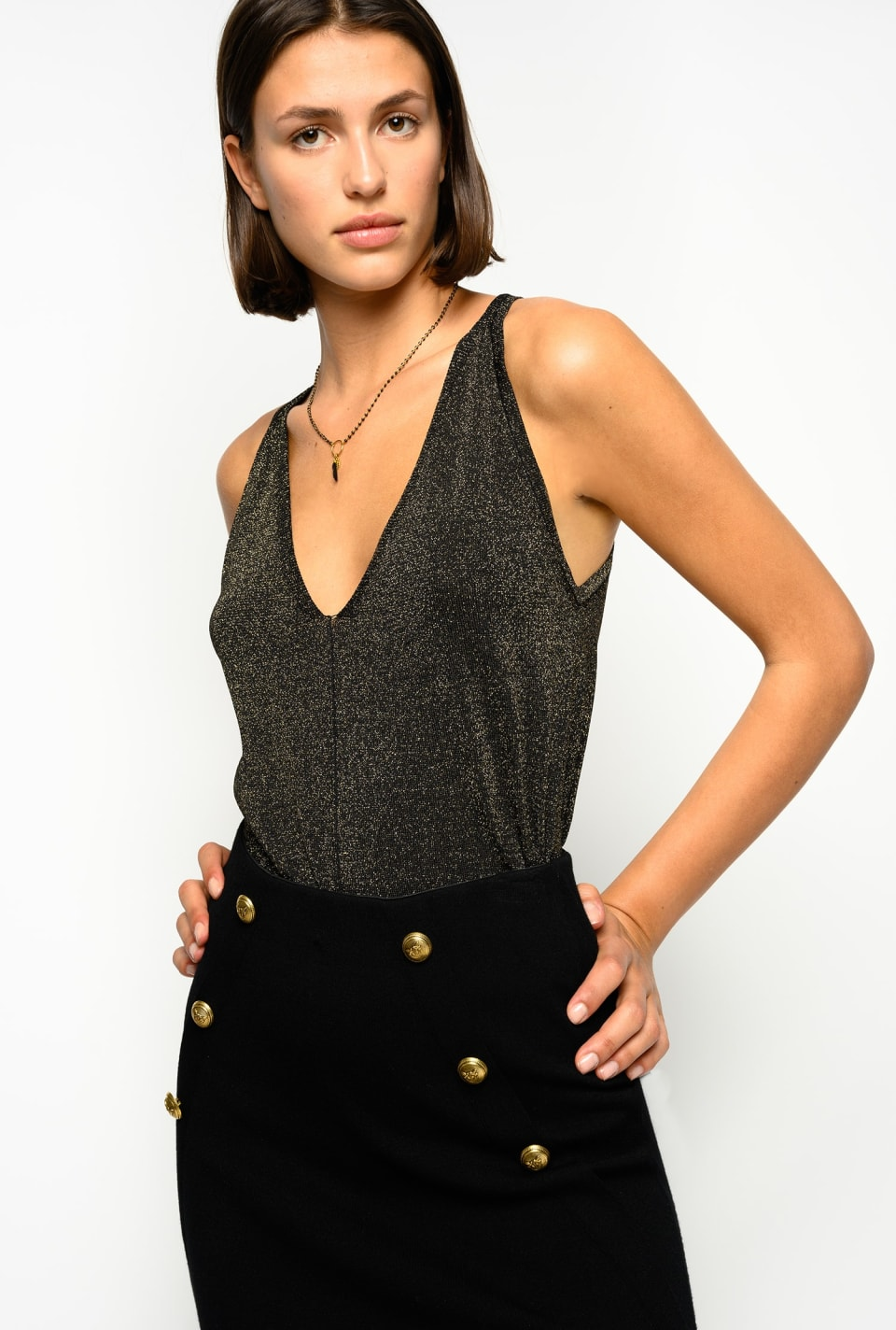 Short top in lurex knit