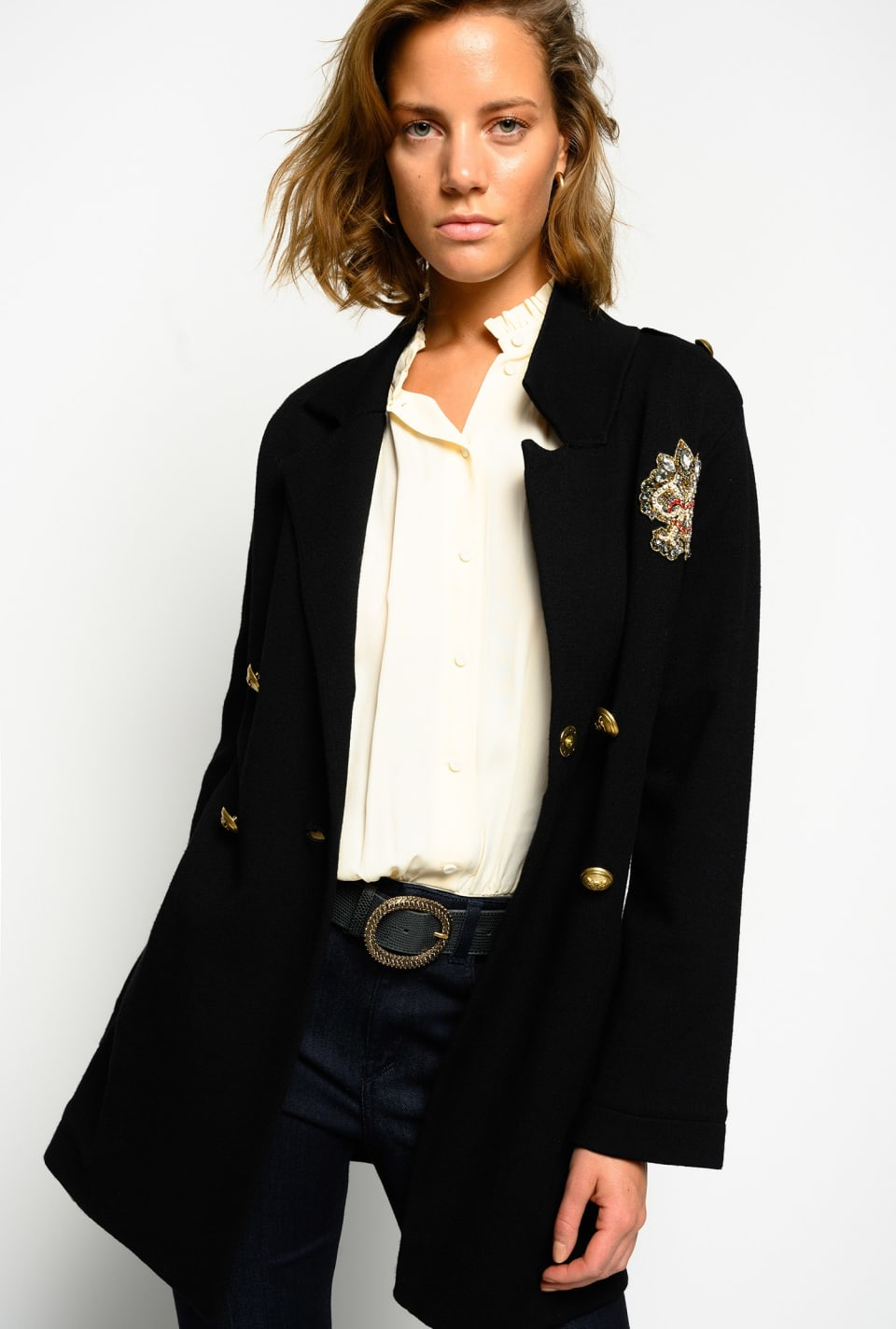 Pea coat with patch brooch - Pinko