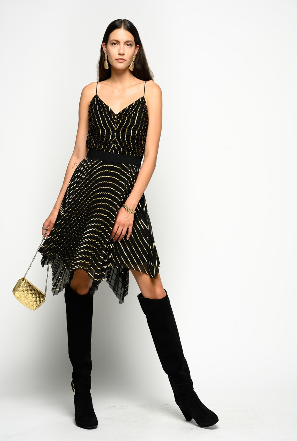 Short pleated dress with laminated stripes