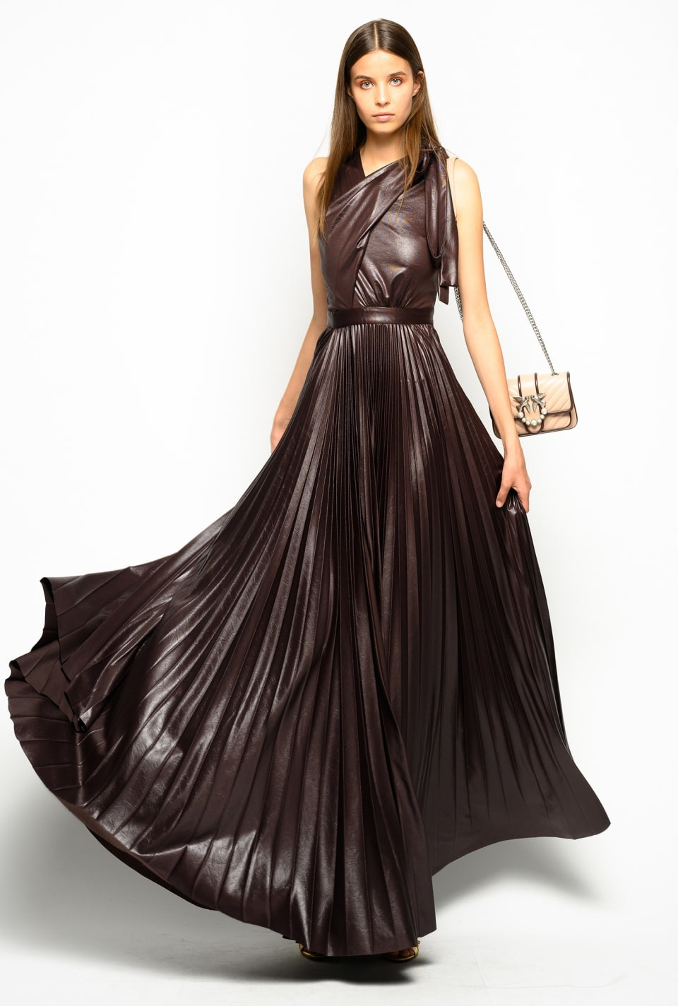 Leather-look draped long dress