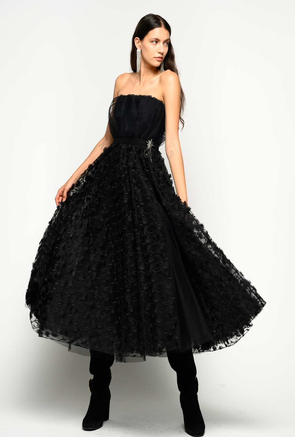 Elegant floral tulle dress