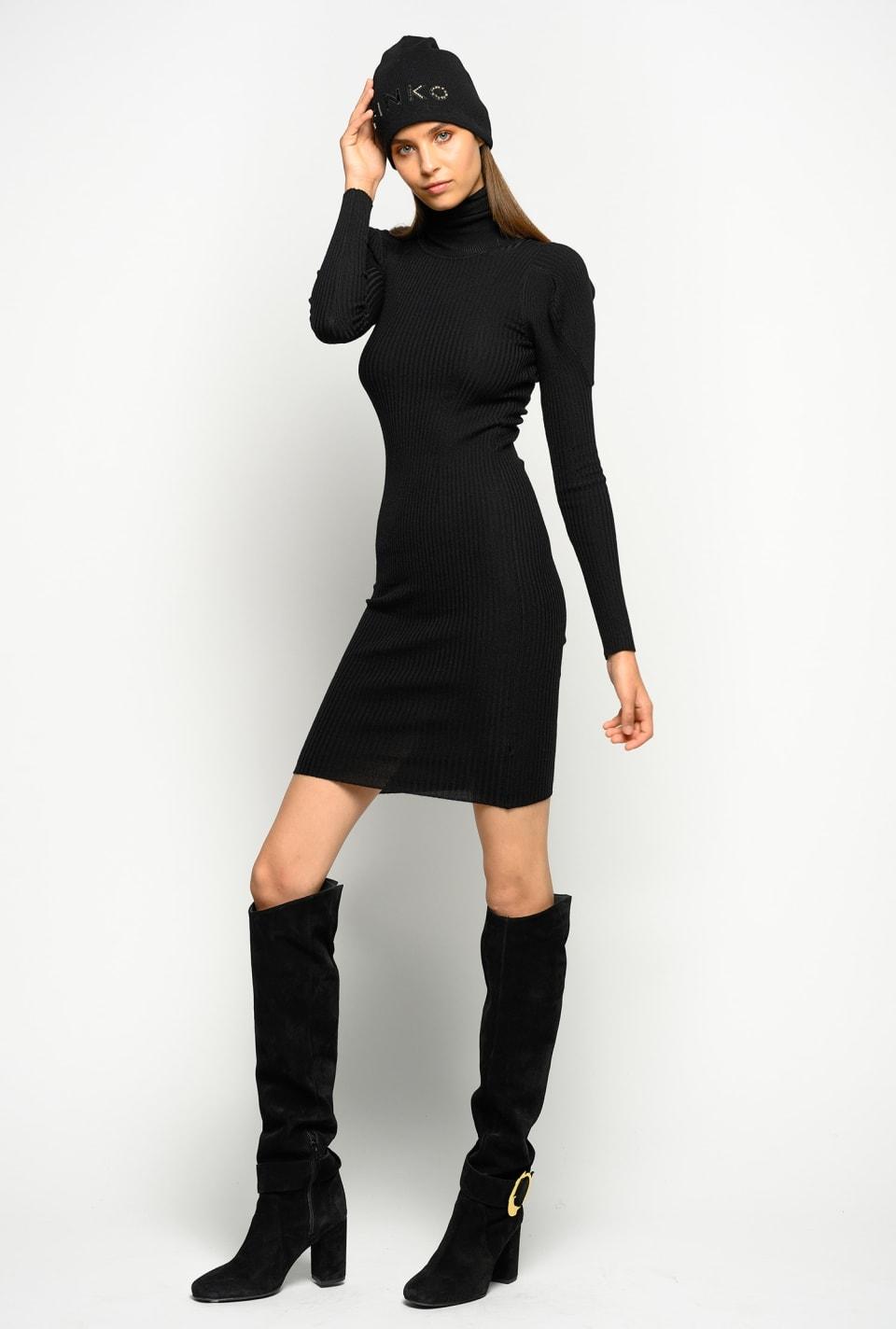 Figure-hugging rib-knit dress