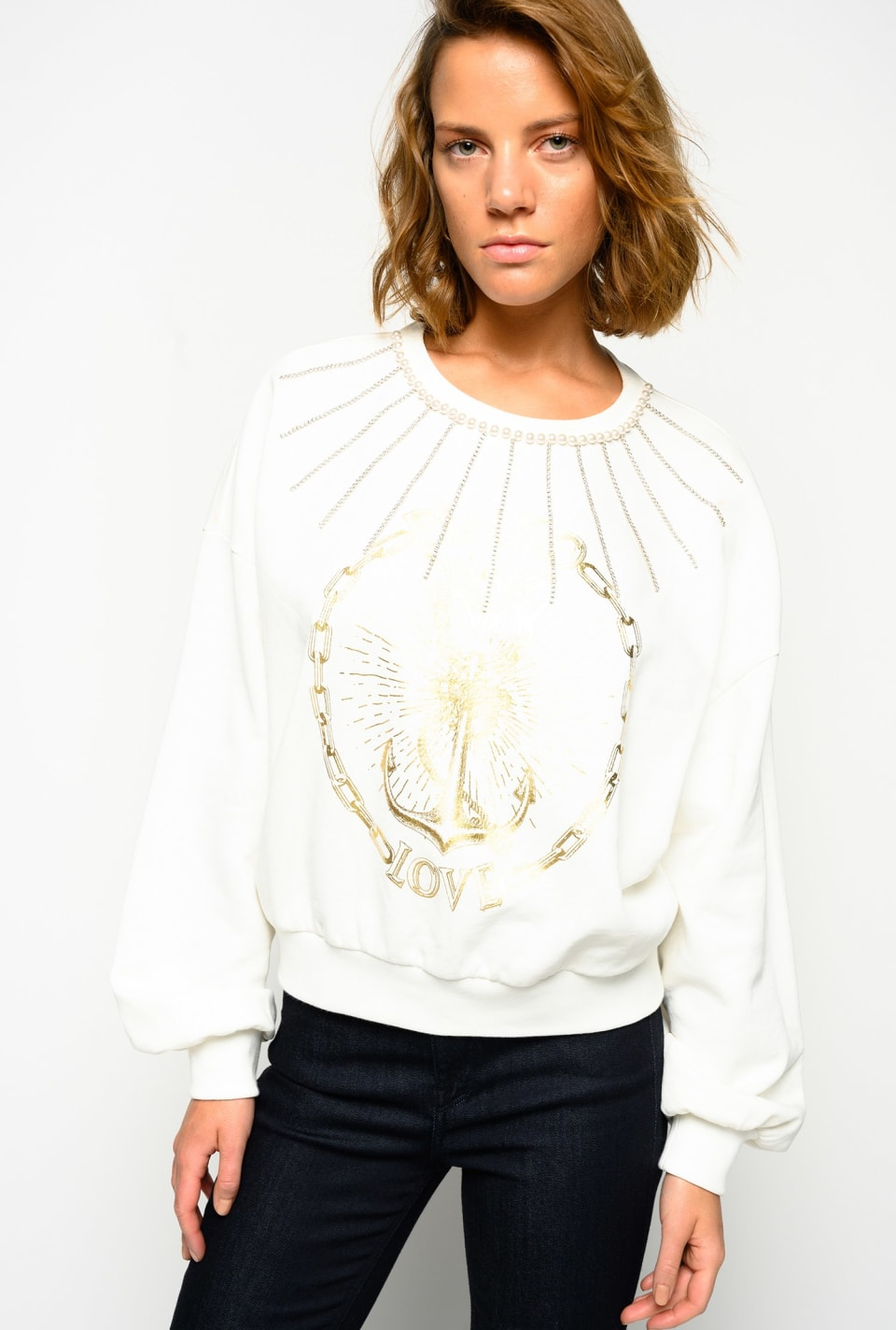 PINKO Love sweatshirt with anchor print - Pinko
