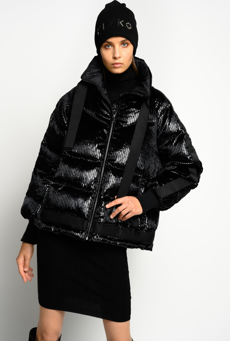 Quilted coat in lurex striped velvet - Pinko