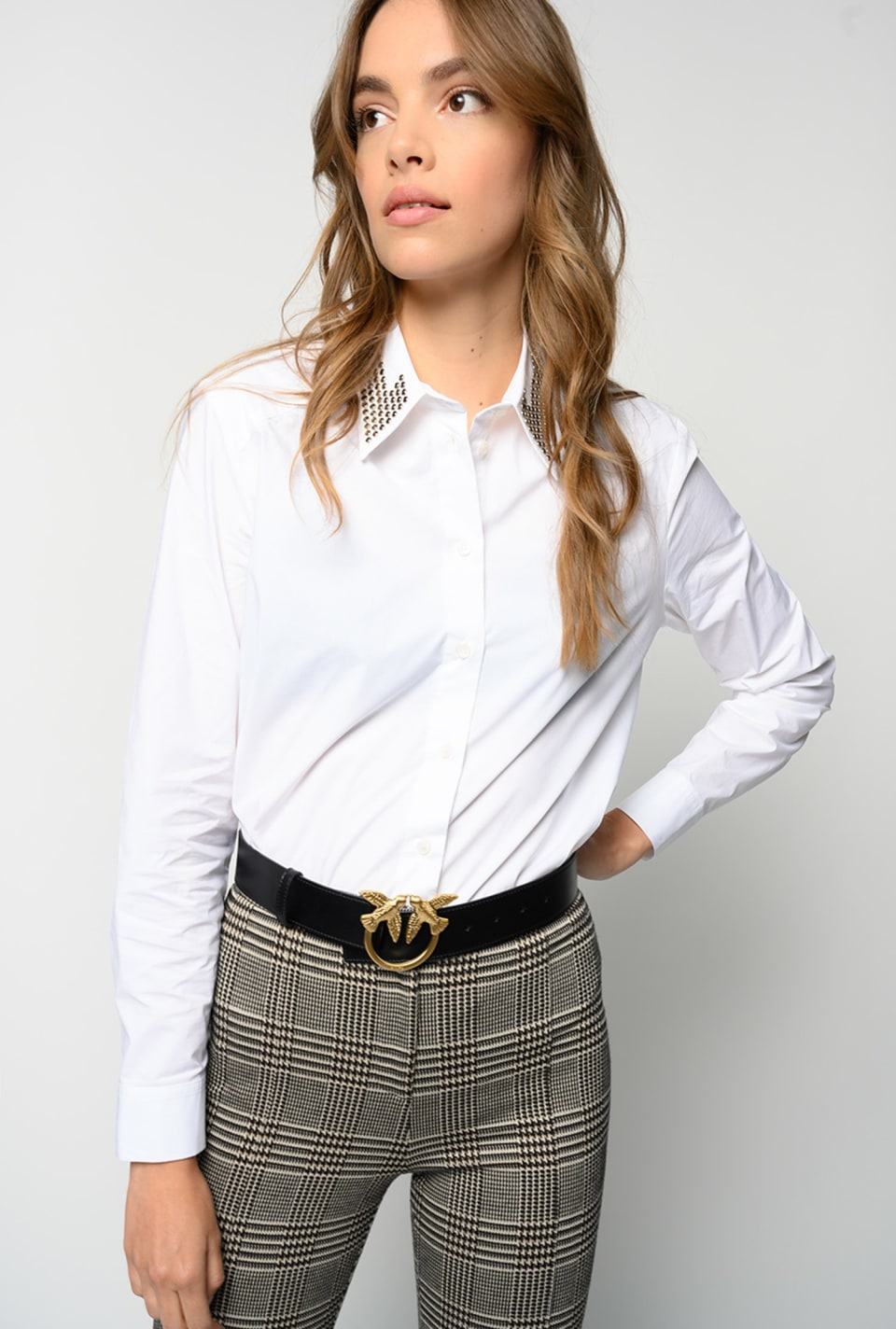Poplin shirt with rhinestone collar - Pinko