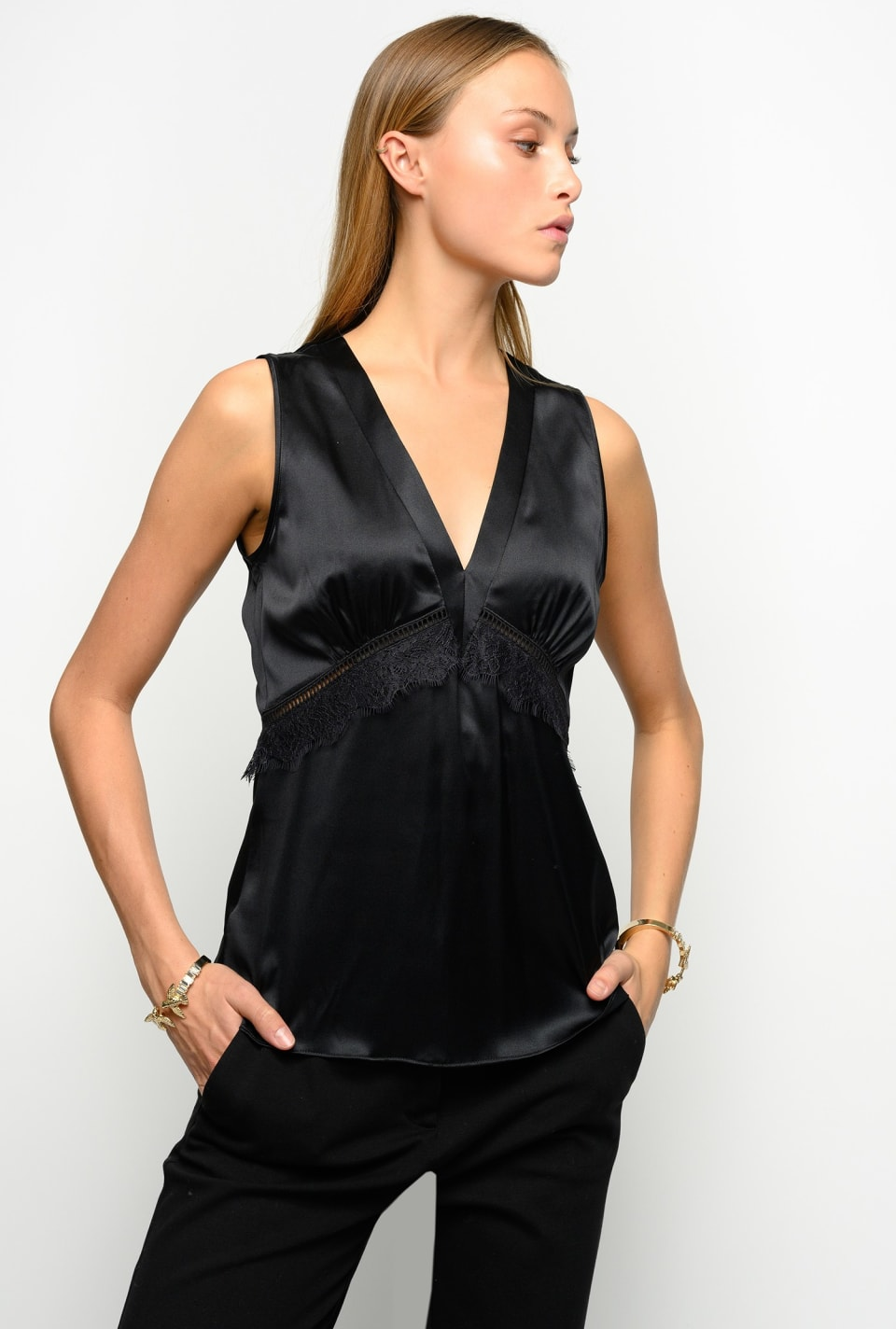 Top in stretch silk satin with lace - Pinko