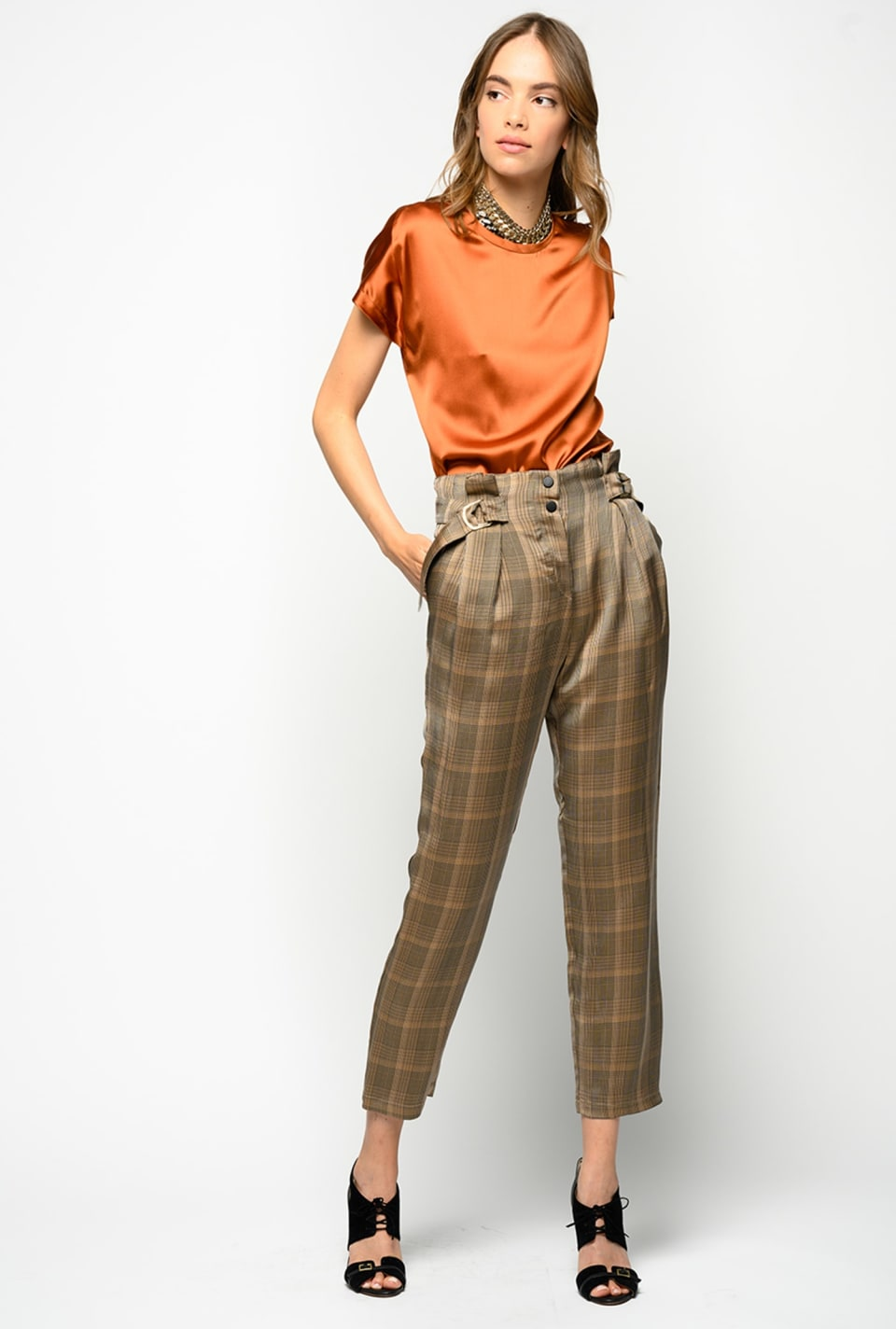 Carrot-fit trousers in Prince of Wales check - Pinko