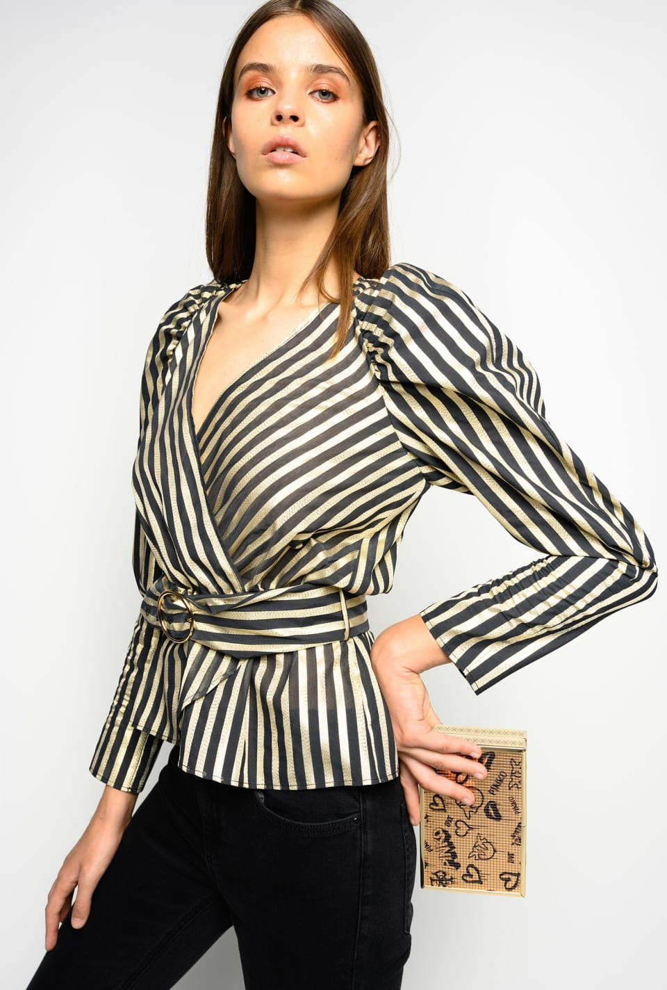 Lurex striped blouse with belt - Pinko