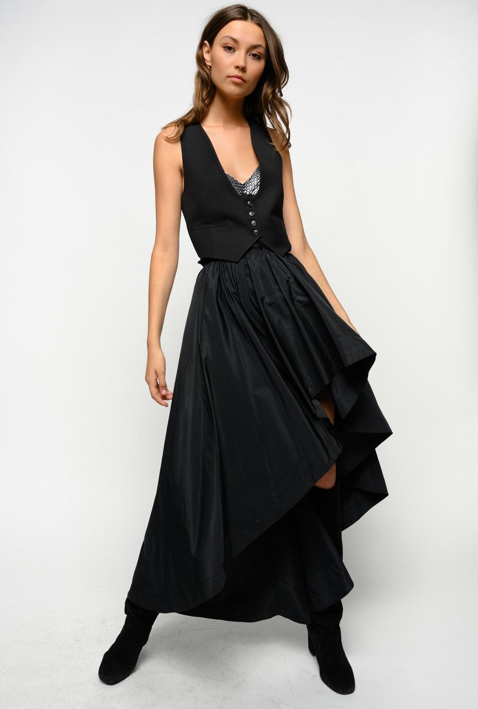 抽褶装饰塔夫绸长款半身裙 - Pinko