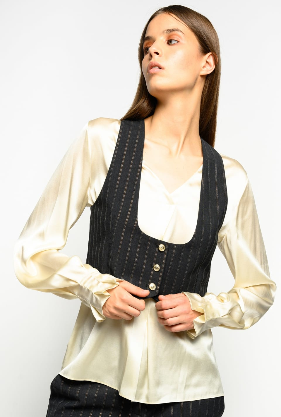Short lurex pinstripe waistcoat - Pinko