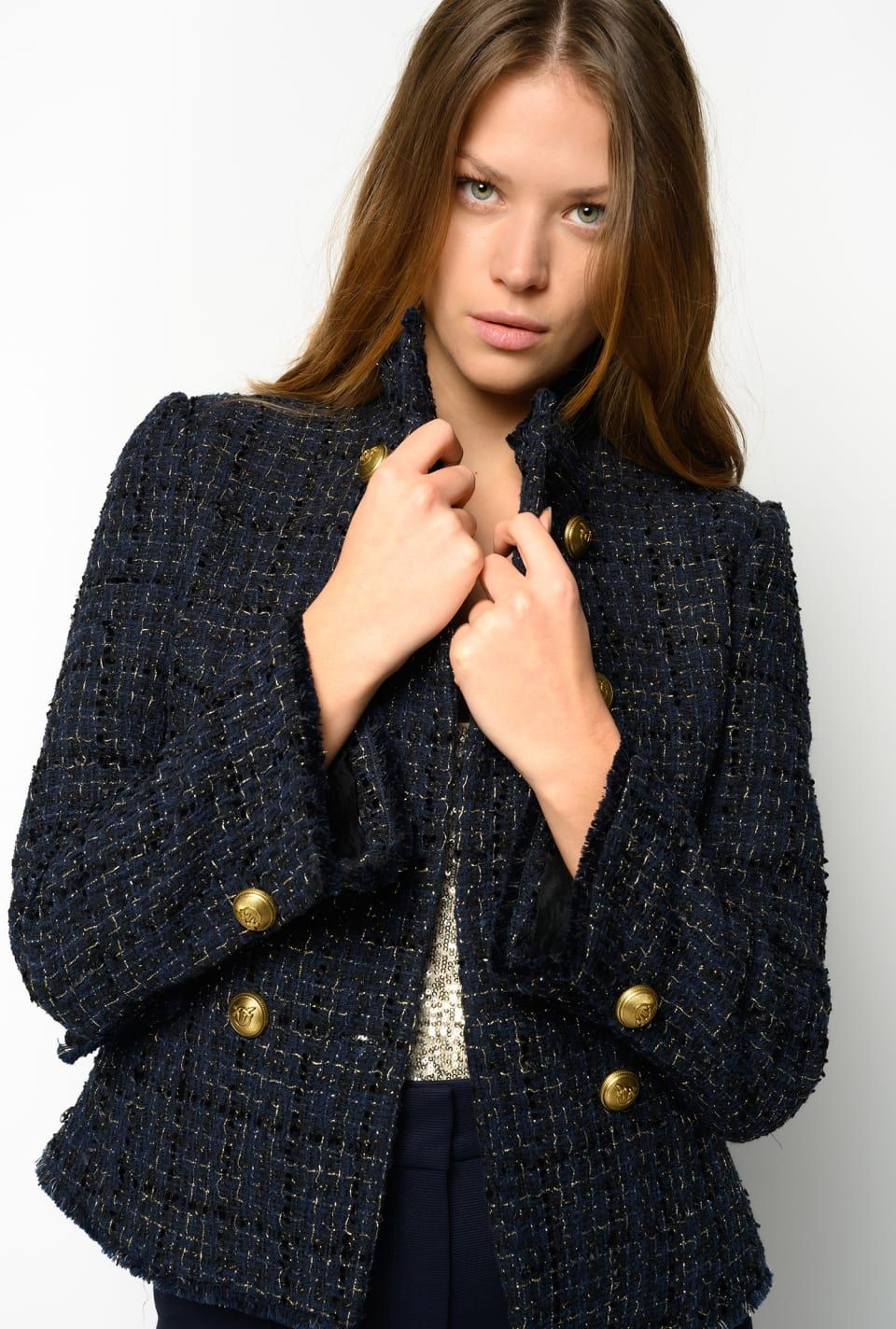 Lurex tweed reefer jacket - Pinko