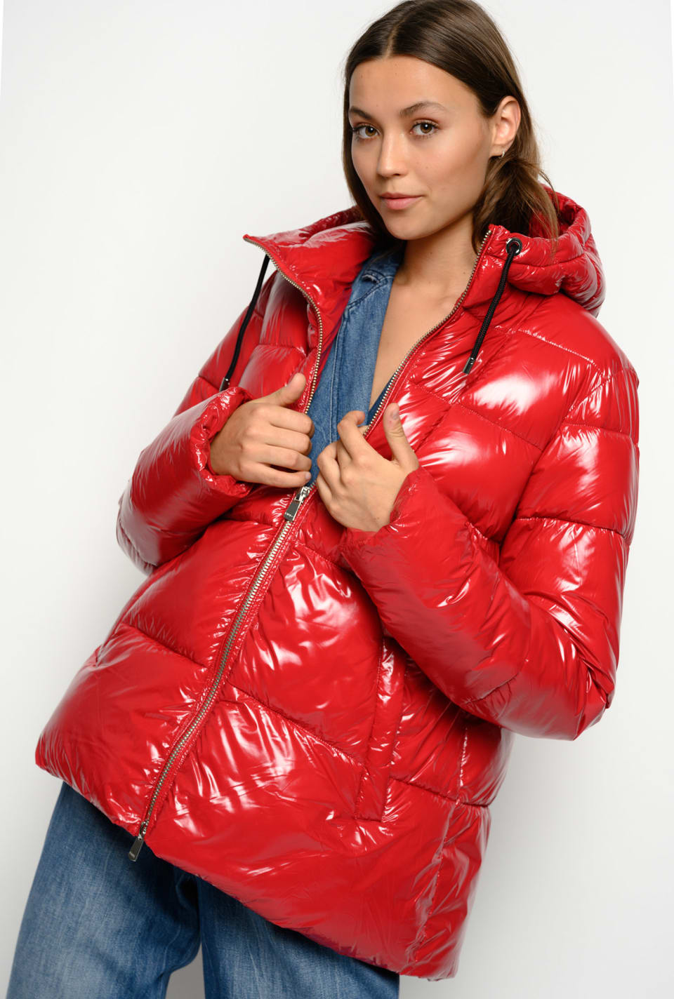 Nylon crystal quilted coat with hood - Pinko