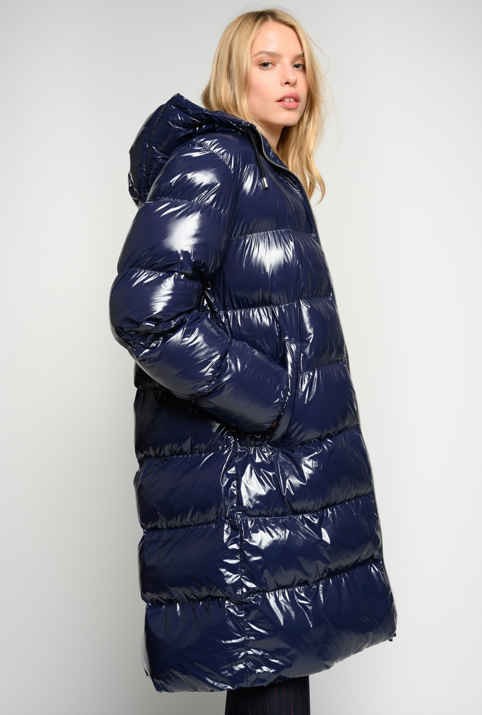Nylon crystal midi quilted coat - Pinko