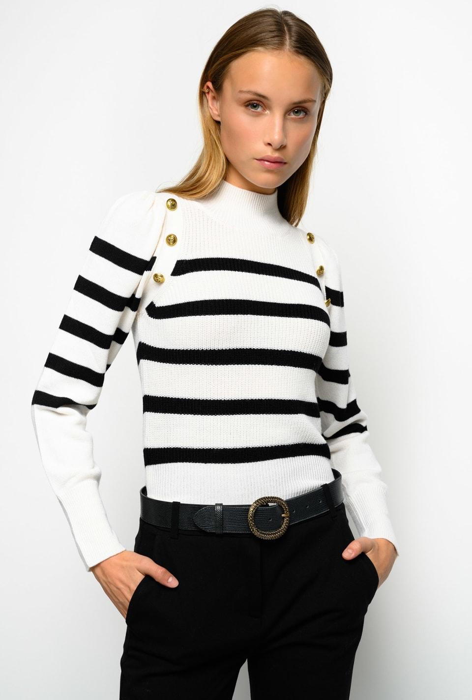 镀金色纽扣海军风格针织衫 - Pinko