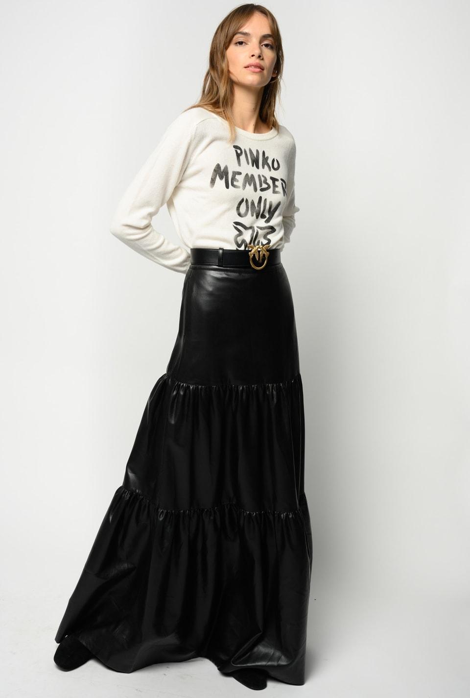 皮革效果长款半身裙 - Pinko