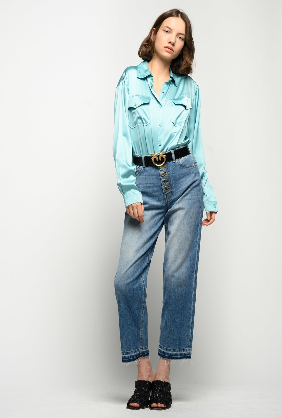 Supple shirt in stretch satin - Pinko