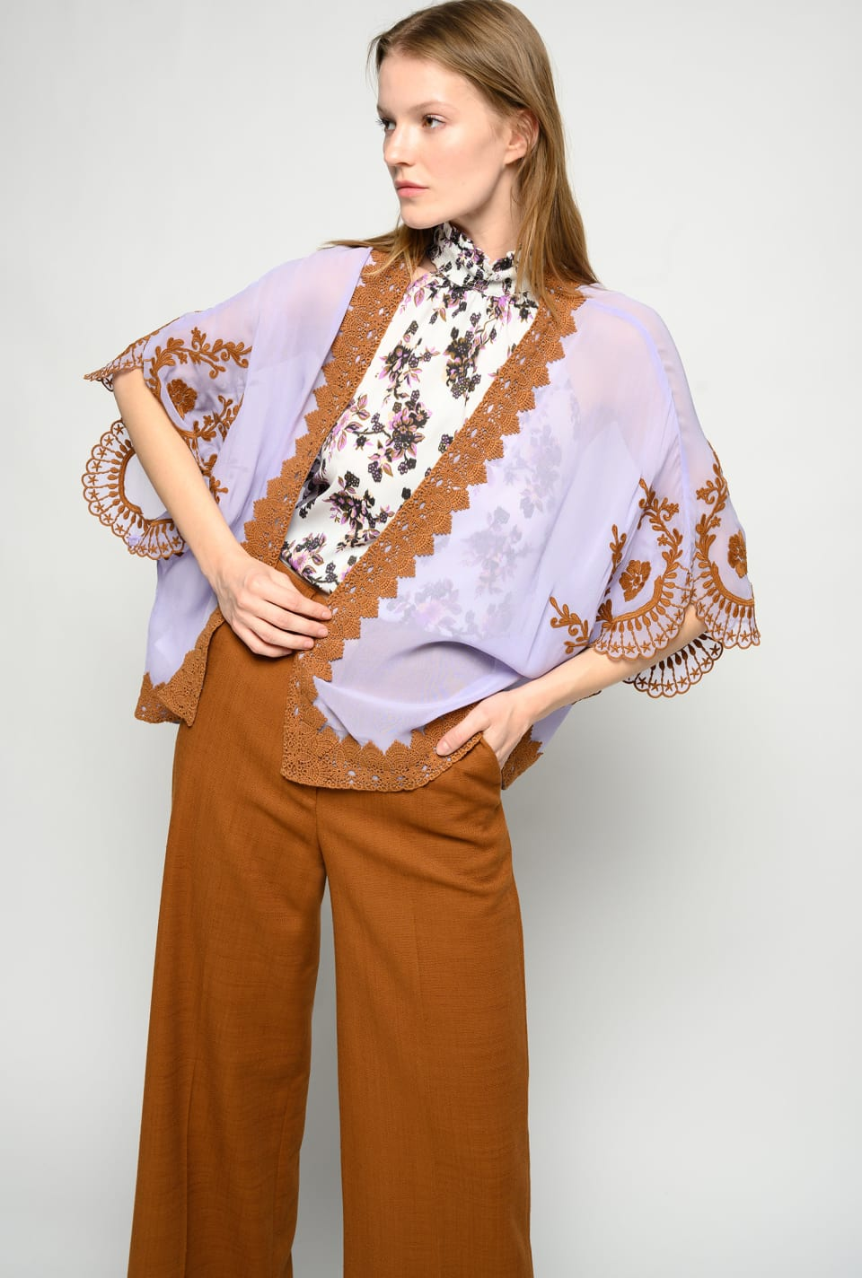 Kaftan in embroidered georgette - Pinko