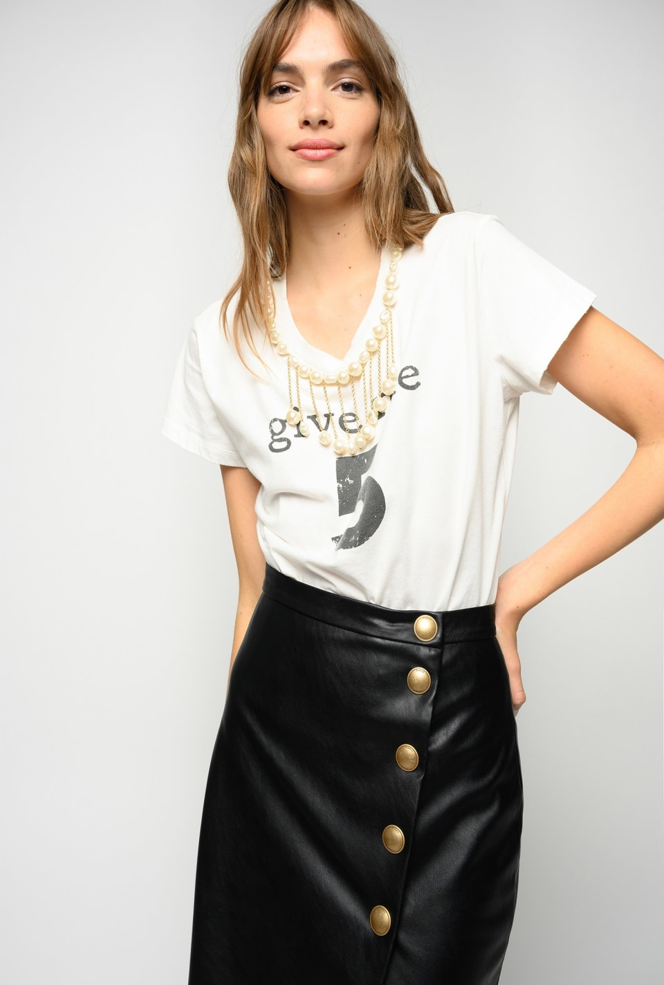 T-shirt Give me 5 con perle - Pinko