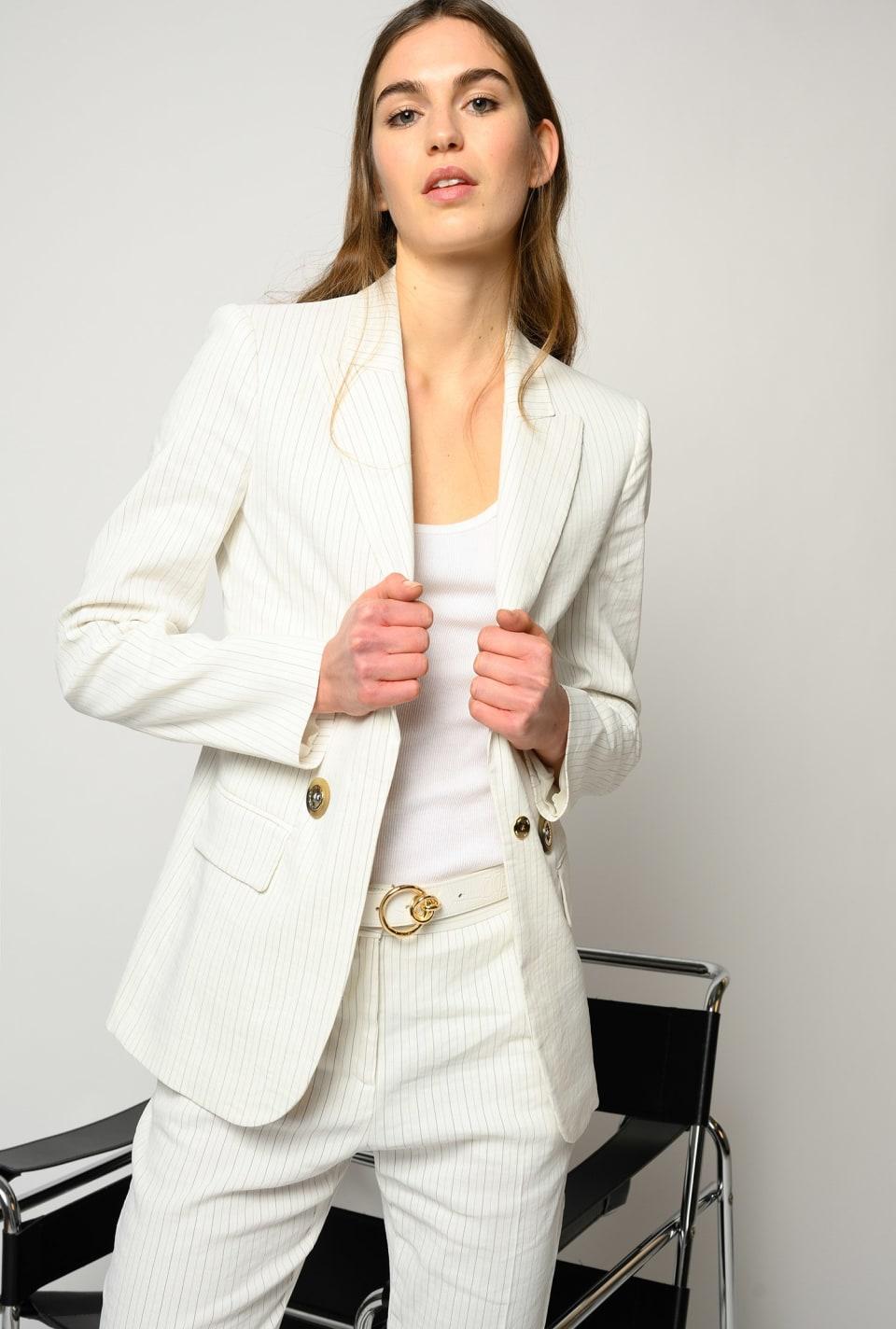 Pinstripe linen blazer - Pinko