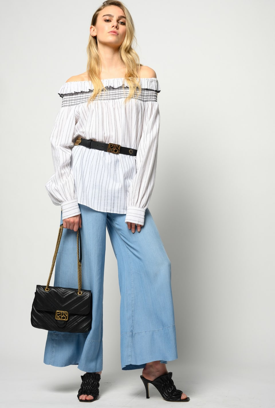 Off-the-shoulder striped blouse - Pinko