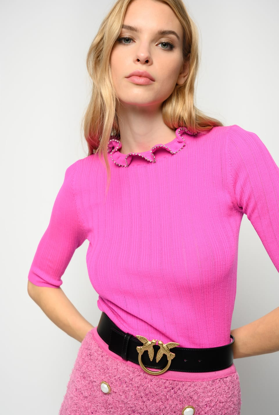 Suéter con escote con fruncidos y strass - Pinko