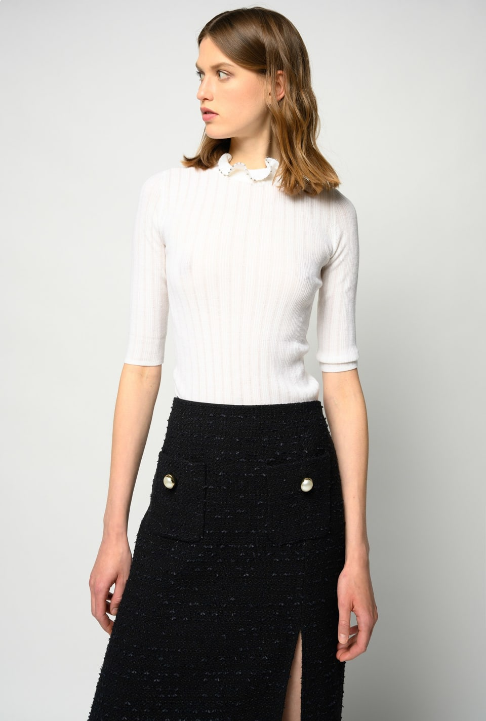 Sweater with ruffled collar with rhinestones - Pinko