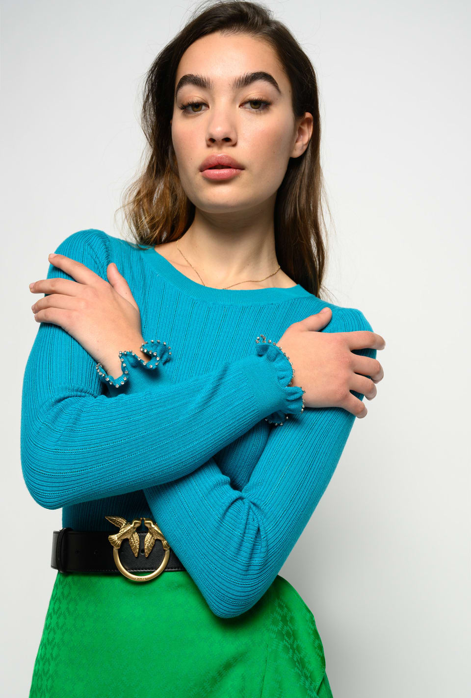 Sweater with ruffles and rhinestones on the cuffs - Pinko