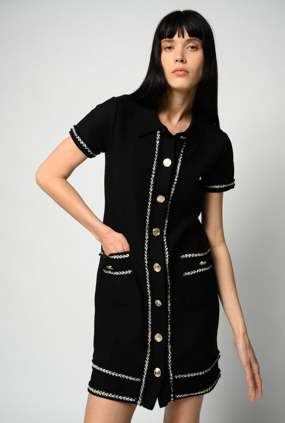 Polo dress with metal buttons - Pinko