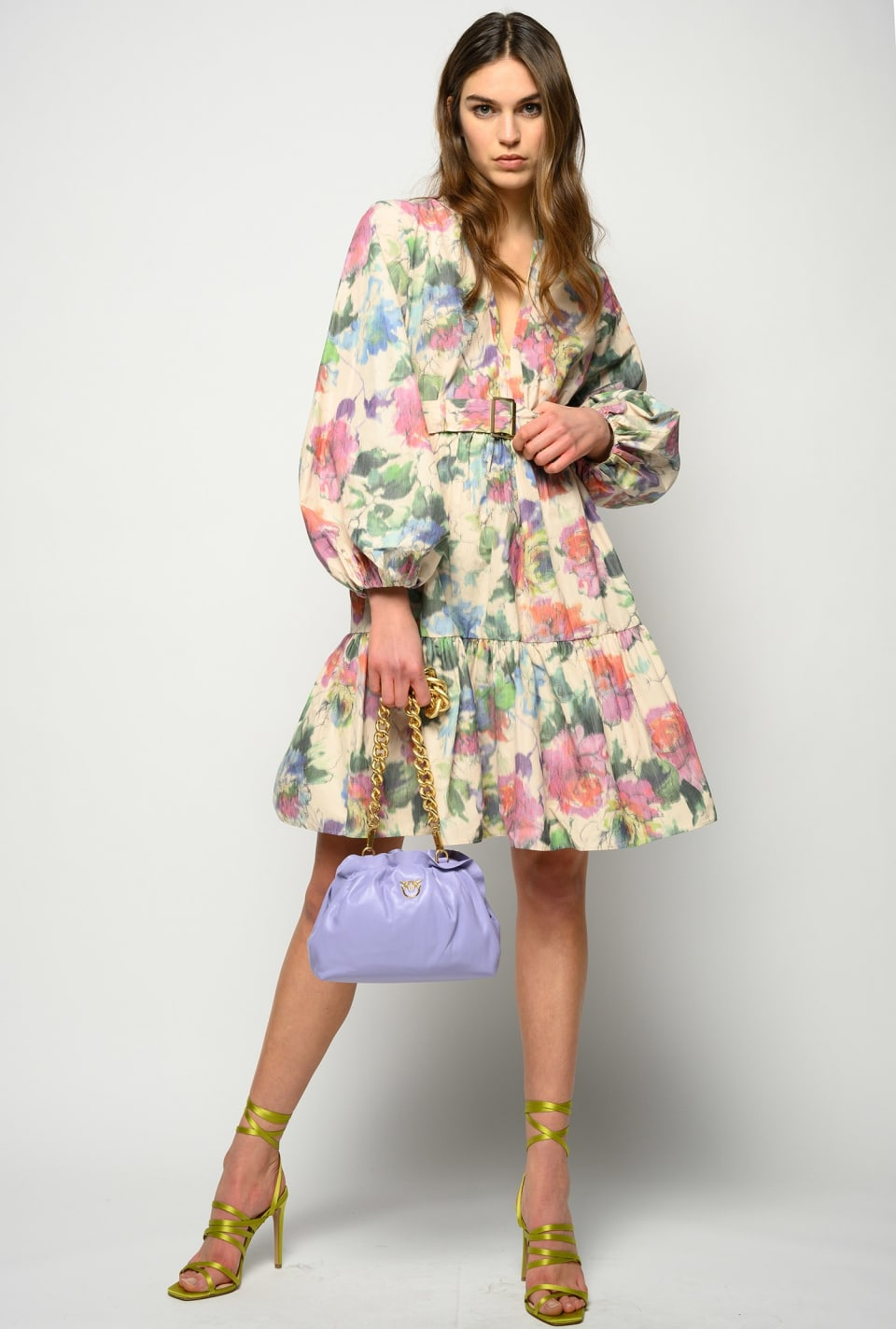 Short dress in blurred edge floral taffeta - Pinko