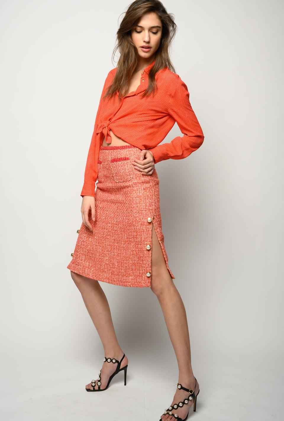 Lurex tweed midi skirt - Pinko