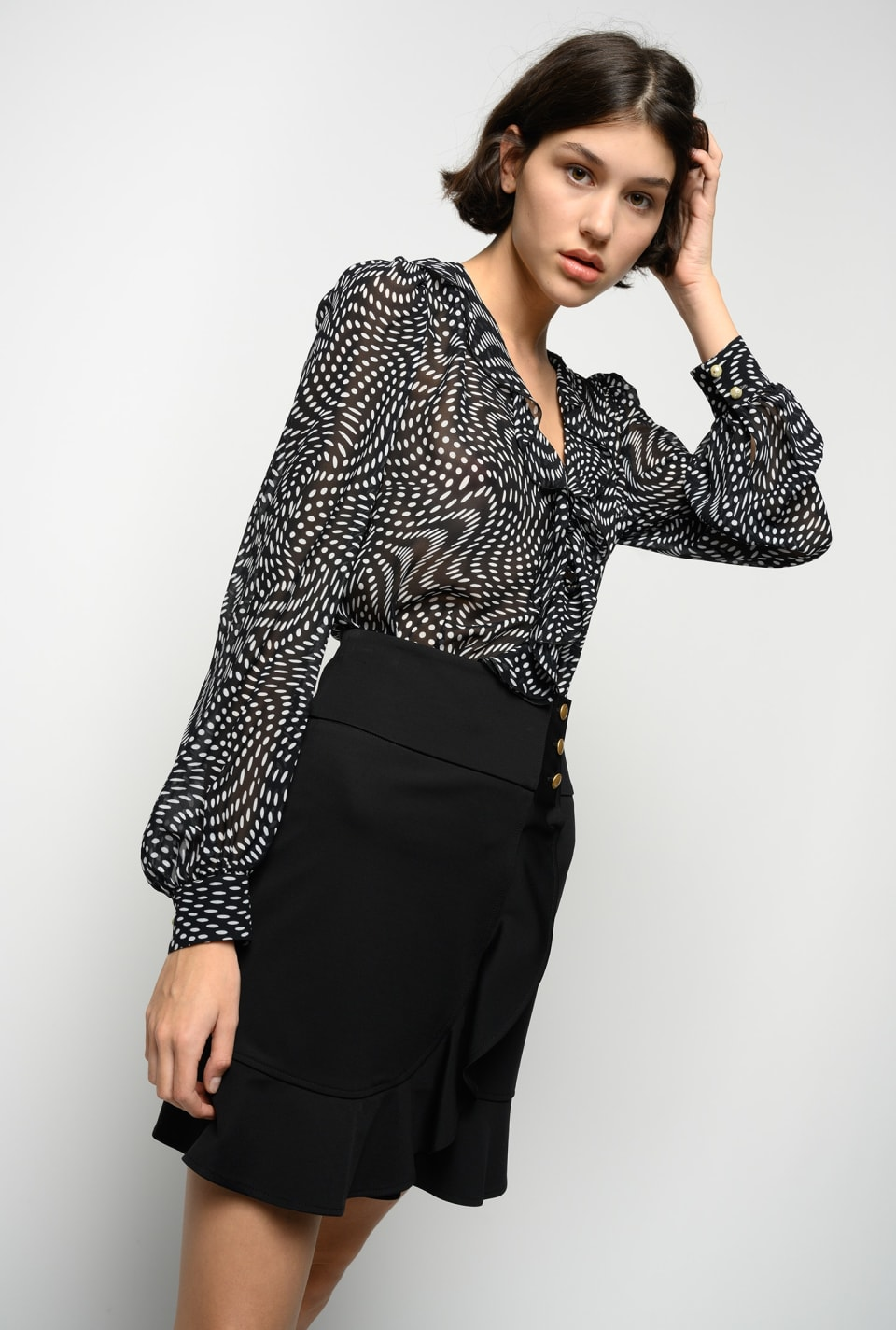 Flowing blouse in asymmetric polka-dot georgette - Pinko