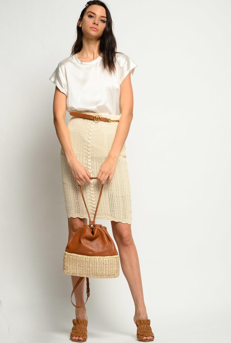 Cotton crochet midi skirt - Pinko