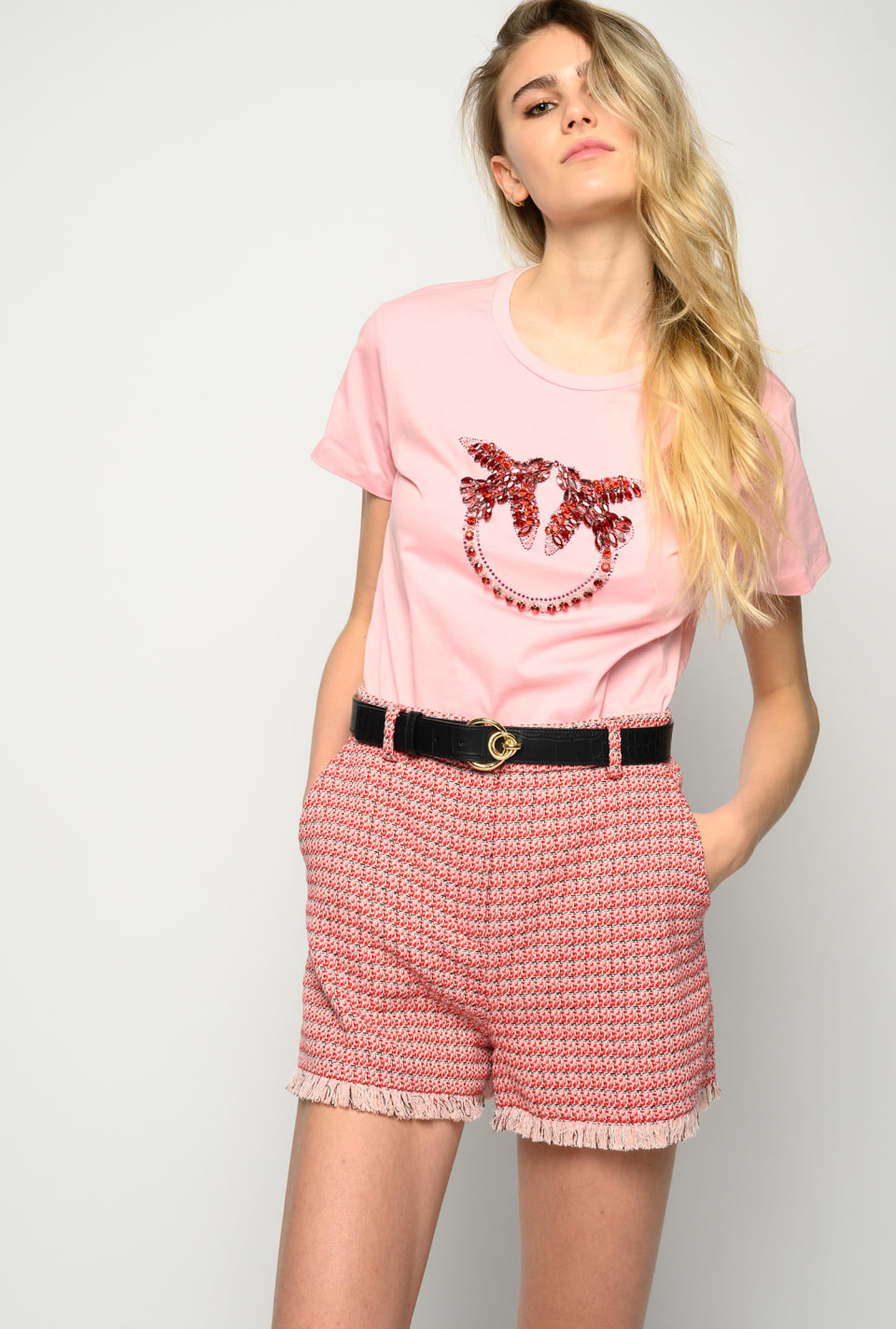 Micro pattern hopsack shorts - Pinko