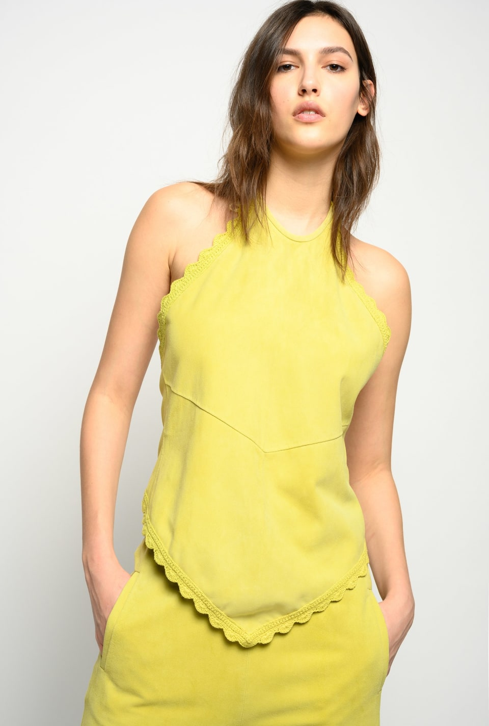Suede halter-neck top - Pinko